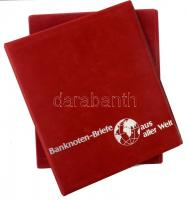 Banknoten Briefe aus aller Welt piros, plüssborítású, négygyűrűs album berakólapok nélkül, plüssborítású tokban, szép állapotban