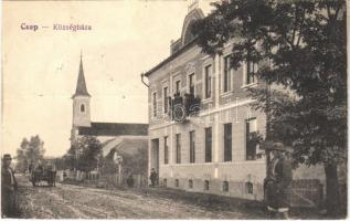 Csap, Cop, Chop; községháza, templom / town hall, church