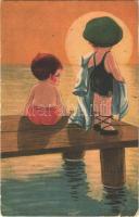 Children humour art postcard, sunset, beach. Amag 080. (EB)