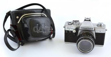 Practica Super TL 500 kamera, Pentacon Multi Coating 1,8/50 objektívvel, bőr tokkal, jó állapotban