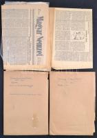 cca 1910-1963 Kismarty Lechner Loránd (1883-1963) építész kézirat hagyatéka. Saját kezű önéletrajza, építészeti tárgyú írások, összesen 7 különböző témájú több oldalas kézirat és javított gépirat. + egy gyűjteménnyi újságcikk általa és róla írt cikkekkel