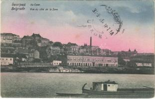 Belgrade, vue du cote de la Save / riverside, ships