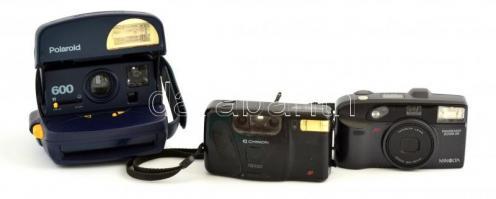 Minolta panorama zoom 28 fényképezőgép, elemmel, működőképes állapotban + Chinon fényképezőgép, f=35 mm objekítvvel, elemmel, nem kipróbált állapotban + Polaroid 600 fényképezőgép, nem kipróbált állapotban.