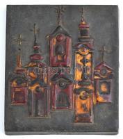Szentendre, retro mázas kerámia falikép, jelzett (Margitka), apó mázhibákkal, 20×17 cm