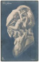 Un faune. Erotikus optikai illúziós képeslap meztelen nőkkel / Optical Illusion art postcard with erotic nude ladies. P.F.B. 219.