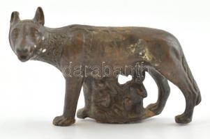 A capitoliumi farkas alapján készült bronz mini szobrocska, utánzat, 5x7 cm