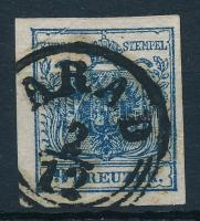 9kr HP III dark blue, plate flaw and paper crease