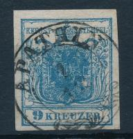 9kr HP IIb greyish blue, highlighted middle part and plate flaw