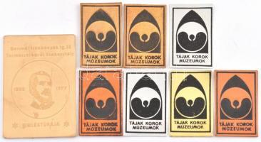 Tájak, korok, múzeumok 7 db matrica és Borsodi Szénbányák Ig. SE Természetbarát Szakosztály fém plakett, 4,5×3 és 7×5 cm