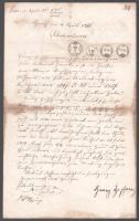 1861 Tartozáselismerő levél 63kr illetékbélyeggel