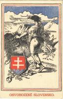Osvobozené Slovensko / A felszabadított Szlovákia / Liberated Slovakia, coat of arms (vágott / cut)