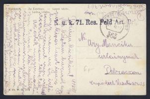 1917 Képeslap Olaszországból / Postcard from Italy k.u.k. 71. Res. Feld. Art. Brig.+FP 563