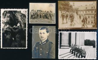 cca 1900-1941 Katonafotók vegyes méretben, 12 db, 4,5×6 és 16×8 cm