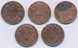 1859E 1kr Cu + 1860B 1kr Cu + 1861B 1kr Cu + Ausztria 1881. 1kr Cu + 1885. 1kr Cu T:2-,3 Adamo M4, Krause KM#2186, KM#2187