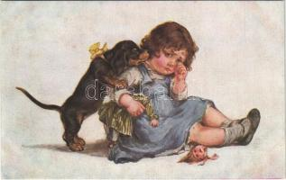 Trostversuch / Children art postcard, dog and toy. A.R. & C.i.B. Nr. 1102/2.