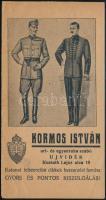 cca 1940 Kormos István Újvidék katonai és úri szabó Levente jelvényes számolócédula 3 db