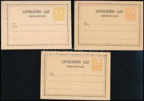 1871 Használatlan díjjegyes levelezőlap 2 típus valamint 1878-as újnyomat (~20.000) / Unused PS cards 2 different types + reprint 1878