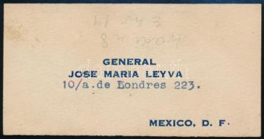 Jose Maria Leyva (1877-1956) mexikói tábornok névjegye / Mexican general business card