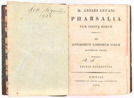 M. Annaei Lucani Pharsalia cum indice rerum. Lipcse, 1834, Car. Tauchnitii. Kiadói félbőr kötésben, tulajdonosi névbejegyzéssel, festett lapélekkel, latin nyelven.