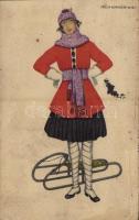 1921 Lady with sled, winter sport. B.K.W.I. 271-1. s: Mela Koehler (ázott / wet damage)