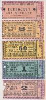 ~1930-1940. Eger Megyei Város - Helypénz jegy 8f-50f-1P-2P névértékekben (4xklf), 8f hátlapján bélyegzés + Tiszaörs Község Hővízfürdője - Fürdő-jegy 80f névértékben T:III