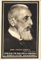 Gróf Apponyi Albert gyászlapja. Tolnai Világlapja emléke a nemzeti gyász alkalmából. Székely Aladár felvétele / obituary card of Albert Apponyi (EB)