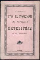 1890 Győr, Az Egyesült Győr- és Győrszigeti Izraelita Népiskola értesítője az 1889/1890-es tanévről, 36p