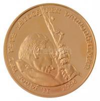 Bognár György (1944-) 1996. II. János Pál pápa látogatása Pannonhalmán aranyozott fém emlékérem műbőr tokban (42,5mm) T:1- (PP) ujjlenyomat, felületi karc