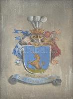 cca 1900-1920 Csikfalvi és mindszenti Nagy család nemesi címere. Olaj, karton, kissé sérült fa keretben, 45×34 cm