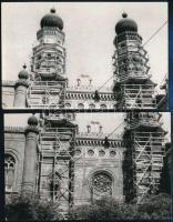1959 Budapest, Dohány utcai zsinagóga, 2 db fotó, 9×14 cm