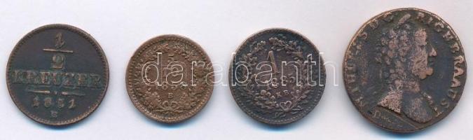 1851B 1/2kr Cu + 1858B 5/10kr Cu + 1885KB 1kr Cu + Csehország / Történelmi tartomány 1762P 1kr Cu Mária Terézia T:3