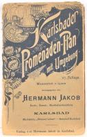 cca 1900 Karlsbad és környéke vászon térképe / Karlsbader Promenaden Plan mit Umgebung. 67x80 cm Papírborítóban