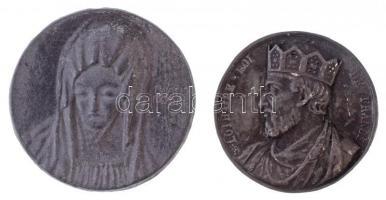 Vegyes: Rákos Böske DN Szűz Mária egyoldalas Zn emlékérem (59mm) + Franciaország DN Lothár király egyoldalas Sn emlékérem. LOTHAIRE ROI DE FRANCE (52mm) T:2-