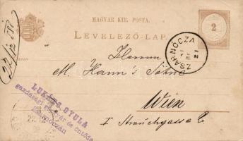 1888 Díjjegyes levelezőlap vízjel nélkül ZSARNÓCZA