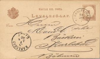 1888 Díjjegyes levelezőlap vízjel nélkül HERKULESFÜRDŐ