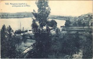 1928 Tui, Tuy; Márgenes espanola y portuguesa en el Mino / Spanish-Portugese border, Minho river