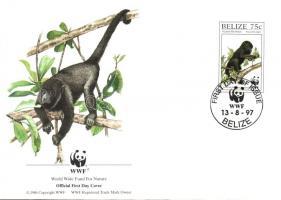 WWF howler monkeys set + a same set on 4 FDC, WWF bőgőmajom sor + ugyanaz a sor 4 FDC-n, WWF Brüllaffe Satz + ein gleicher Satz an 4 FDC