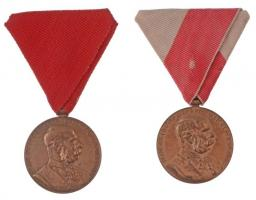 1898. Jubileumi Emlékérem Fegyveres Erő Számára / Signum memoriae (AVSTR) és Jubileumi Emlékérem Polgári Állami Alkalmazottak Számára / Signum memoriae (AVST) Br kitüntetés eredeti mellszalaggal (2xklf) T:2 ph. Hungary 1898. Commemorative Jubilee Medal for the Armed Forces and Commemorative Jubilee Medal for the Civil State Officials Br decoration with original ribbon (2xdiff) C:XF edge error NMK 249.