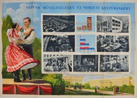 Népünk műveltségéért, új nemzeti kultúránkért! plakát, hajtott, kiadja: Magyar Függetlenségi Népfront Országos Tanácsa, hajtott, hajtásoknál kis lyukakkal, 58×80 cm