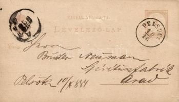 1884 Díjjegyes levelezőlap vízjel nélkül PELSUCZ