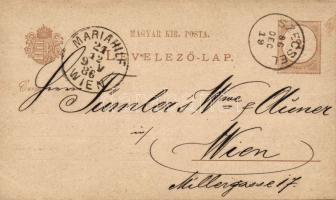 1886 Díjjegyes levelezőlap vízjel nélkül SZECSEL