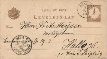 1897 Díjjegyes levelezőlap vízjel nélkül SZEPETK