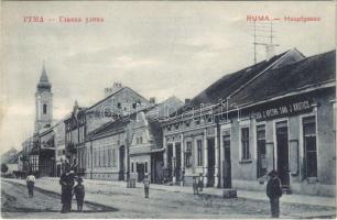 1914 Árpatarló, Ruma; Fő utca, J. Krstics üzlete, templom / Hauptgasse / main street, shops, church