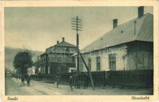1940 Dombó, Dubove; utca, M. kir. posta / street view, post office + kétnyelvű bélyegző / bilingual cancellation