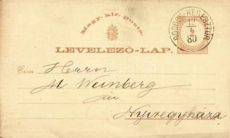 1880 Díjjegyes levelezőlap IV. vízjellel BODROG-KERESZTÚR
