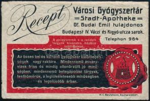 cca 1910 Budai Emil tulajdonos Városi gyógyszertára (Bp. IV. Váci utca) rendkívül dekoratív képes receptborítékja gyógyszerreklámokkal, jó állapotban