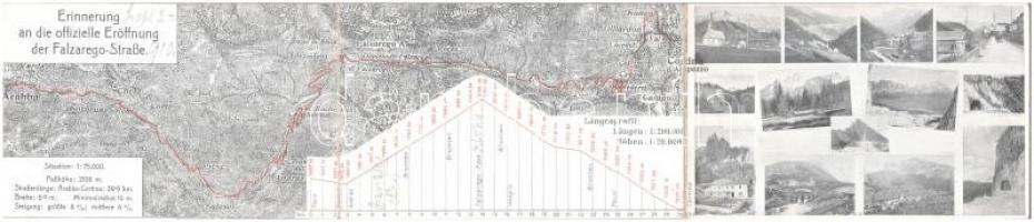 1910 Cortina dAmpezzo, Erinnerung an die offizielle Eröffnung der Falzarego-Straße / 3-tiled folding panoramacard with map (torn at fold)