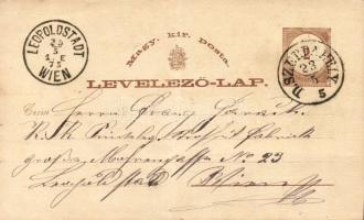 1875 Díjjegyes levelezőlap II. vízjellel D.SZERDAHELY