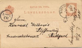 1881 Díjjegyes levelezőlap VII. vízjellel NAGY-SURÁNY