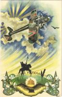 Magyar Feltámadást! / Hungarian irredenta propaganda with military aircraft s: Bozó